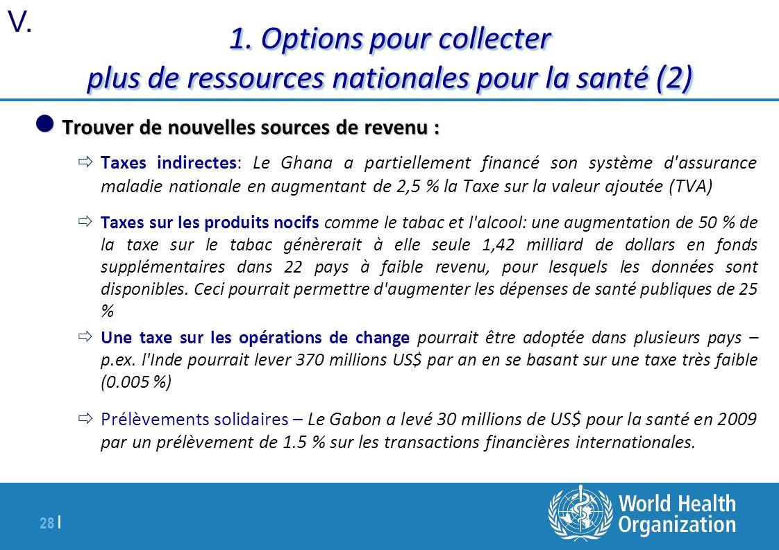 28 | 1. Options pour collecter plus de ressources nationales pour la santé (2) Trouver de nouvelles sources de revenu : Trouver de nouvelles sources d