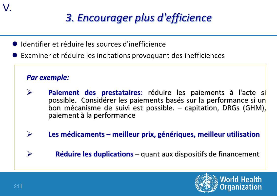 31 | 3. Encourager plus d'efficience Identifier et réduire les sources d'inefficience Examiner et réduire les incitations provoquant des inefficiences