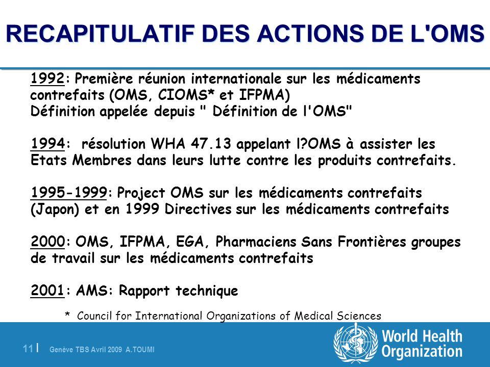 Genève TBS Avril 2009 A.TOUMI 11 | 1992: Première réunion internationale sur les médicaments contrefaits (OMS, CIOMS* et IFPMA) Définition appelée dep