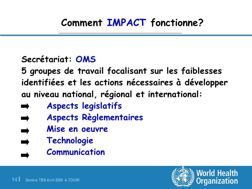 Genève TBS Avril 2009 A.TOUMI 14 | Comment IMPACT fonctionne? Secrétariat: OMS 5 groupes de travail focalisant sur les faiblesses identifiées et les a