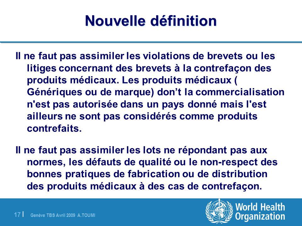 Genève TBS Avril 2009 A.TOUMI 17 | Nouvelle définition Il ne faut pas assimiler les violations de brevets ou les litiges concernant des brevets à la c