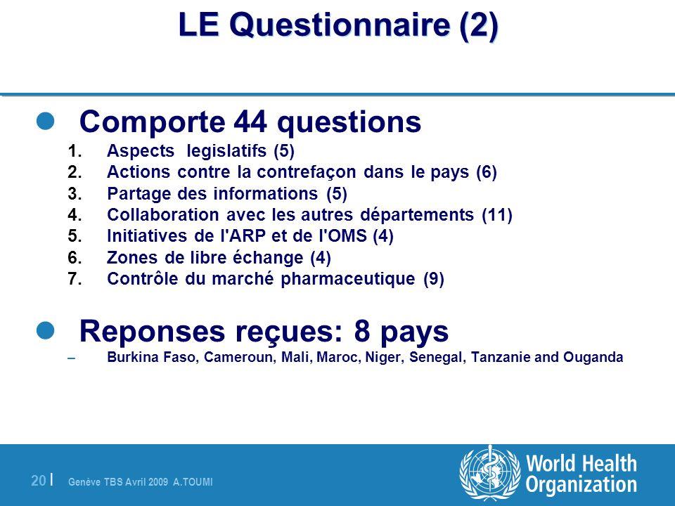 Genève TBS Avril 2009 A.TOUMI 20 | LE Questionnaire (2) Comporte 44 questions 1.Aspects legislatifs (5) 2.Actions contre la contrefaçon dans le pays (