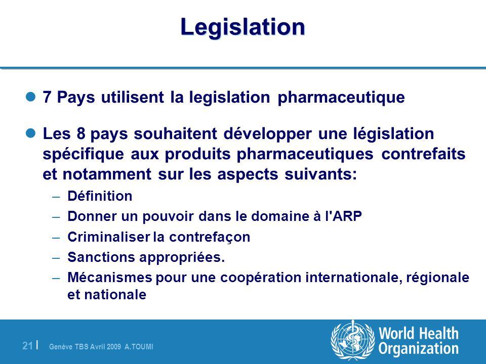 Genève TBS Avril 2009 A.TOUMI 21 | Legislation 7 Pays utilisent la legislation pharmaceutique Les 8 pays souhaitent développer une législation spécifi