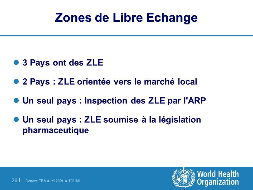 Genève TBS Avril 2009 A.TOUMI 26 | Zones de Libre Echange 3 Pays ont des ZLE 2 Pays : ZLE orientée vers le marché local Un seul pays : Inspection des