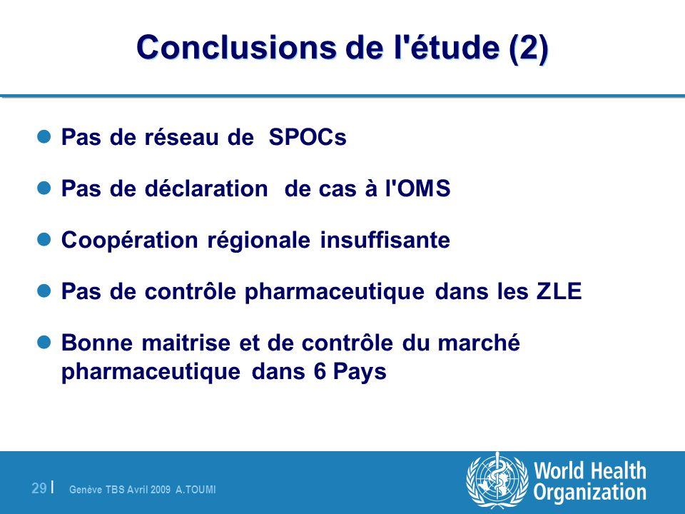 Genève TBS Avril 2009 A.TOUMI 29 | Conclusions de l'étude (2) Pas de réseau de SPOCs Pas de déclaration de cas à l'OMS Coopération régionale insuffisa