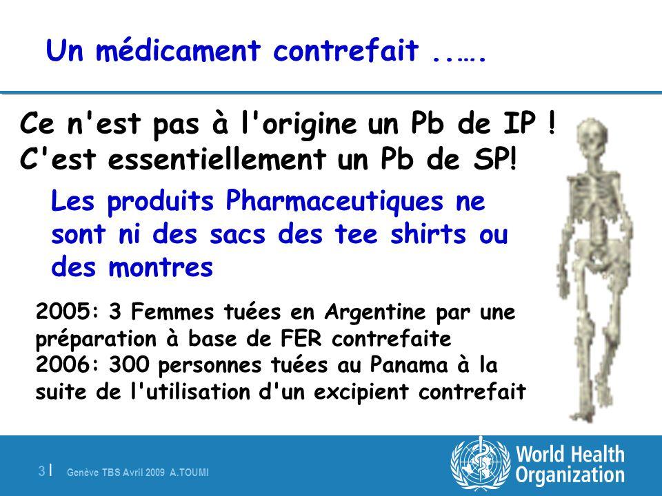 Genève TBS Avril 2009 A.TOUMI 3 |3 | Ce n'est pas à l'origine un Pb de IP ! C'est essentiellement un Pb de SP! Les produits Pharmaceutiques ne sont ni