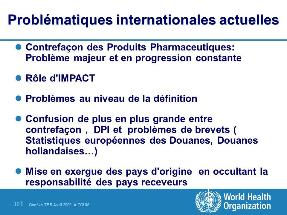 Genève TBS Avril 2009 A.TOUMI 30 | Problématiques internationales actuelles Contrefaçon des Produits Pharmaceutiques: Problème majeur et en progressio