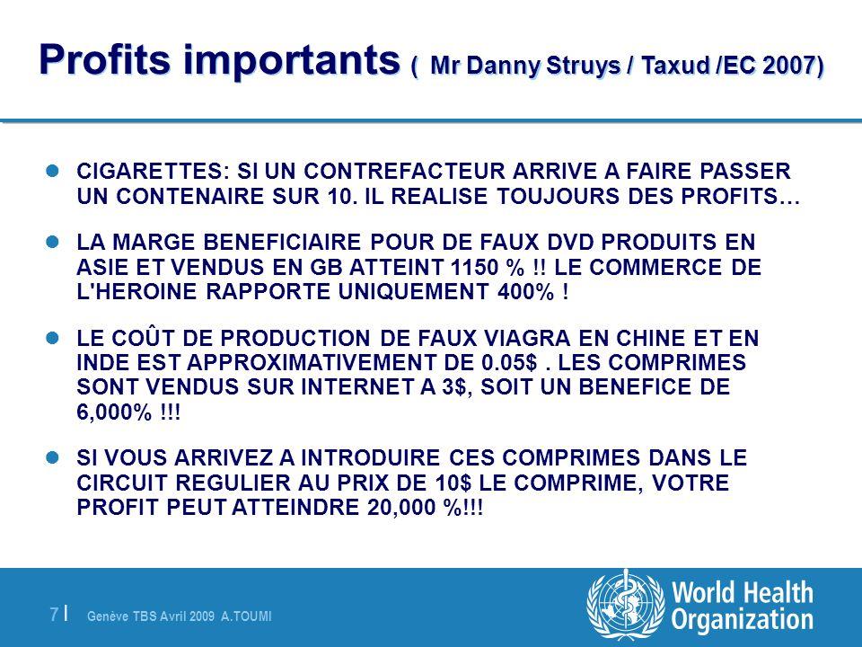 Genève TBS Avril 2009 A.TOUMI 7 |7 | Profits importants ( Mr Danny Struys / Taxud /EC 2007) CIGARETTES: SI UN CONTREFACTEUR ARRIVE A FAIRE PASSER UN C
