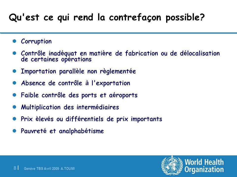 Genève TBS Avril 2009 A.TOUMI 8 |8 | Corruption Contrôle inad é quat en mati è re de fabrication ou de d é localisation de certaines op é rations Impo