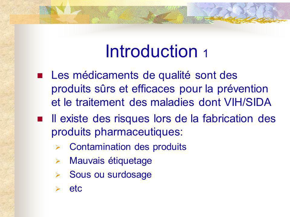 Introduction 1 Les médicaments de qualité sont des produits sûrs et efficaces pour la prévention et le traitement des maladies dont VIH/SIDA Il existe