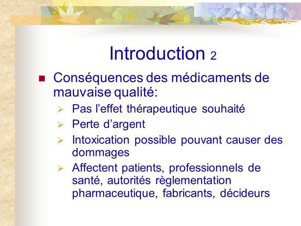Introduction 2 Conséquences des médicaments de mauvaise qualité: Pas leffet thérapeutique souhaité Perte dargent Intoxication possible pouvant causer