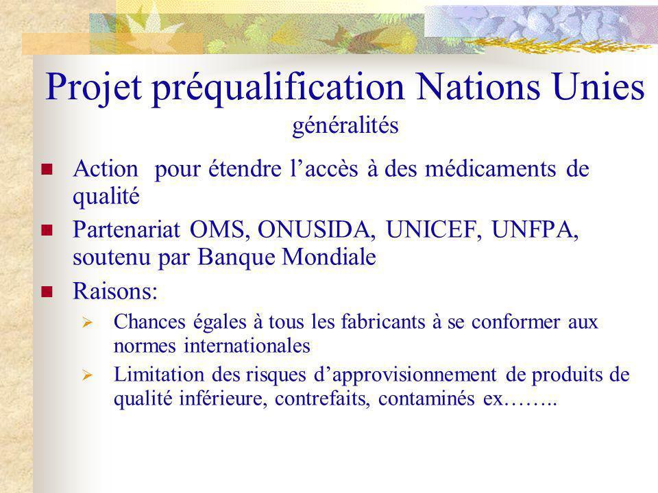 Projet préqualification Nations Unies généralités Action pour étendre laccès à des médicaments de qualité Partenariat OMS, ONUSIDA, UNICEF, UNFPA, sou
