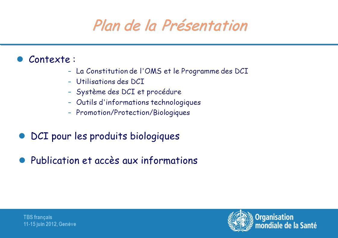 TBS français 11-15 juin 2012, Genève Plan de la Présentation Contexte : –La Constitution de l'OMS et le Programme des DCI –Utilisations des DCI –Systè
