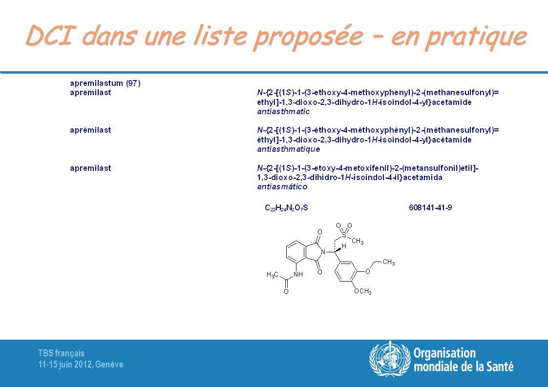 TBS français 11-15 juin 2012, Genève DCI dans une liste proposée – en pratique