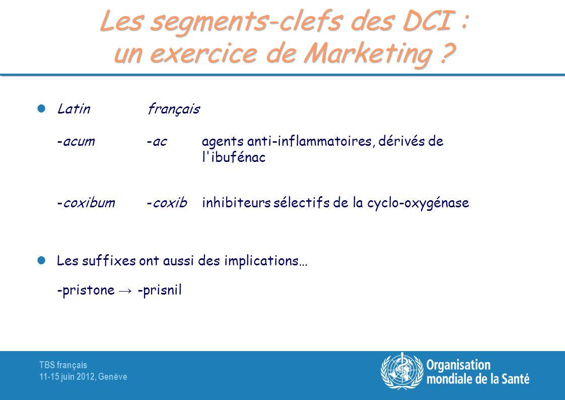 TBS français 11-15 juin 2012, Genève Les segments-clefs des DCI : un exercice de Marketing ? Latinfrançais -acum-ac agents anti-inflammatoires, dérivé