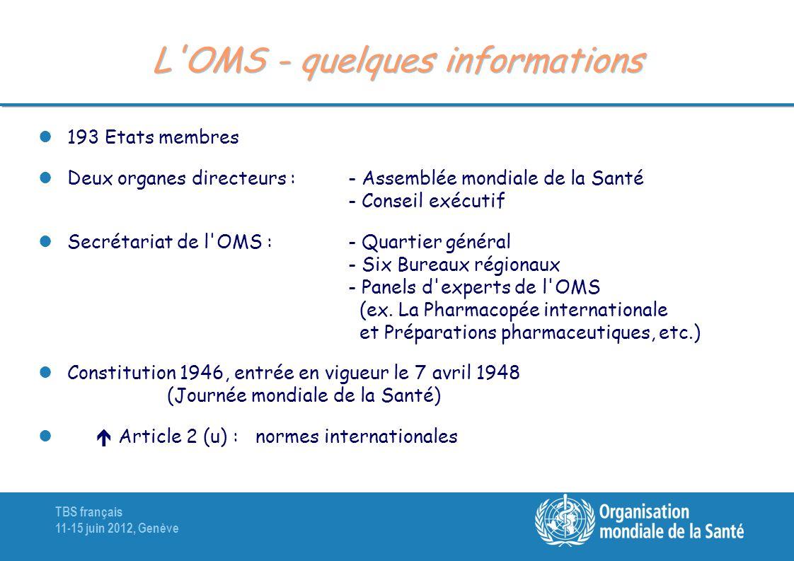 TBS français 11-15 juin 2012, Genève L'OMS - quelques informations 193 Etats membres Deux organes directeurs : - Assemblée mondiale de la Santé - Cons