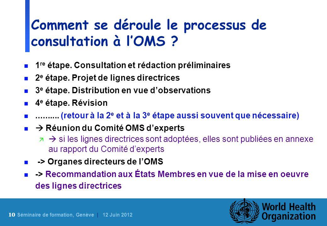 10 S éminaire de formation, Genève | 12 Juin 2012 Comment se déroule le processus de consultation à lOMS ? n 1 re étape. Consultation et rédaction pré
