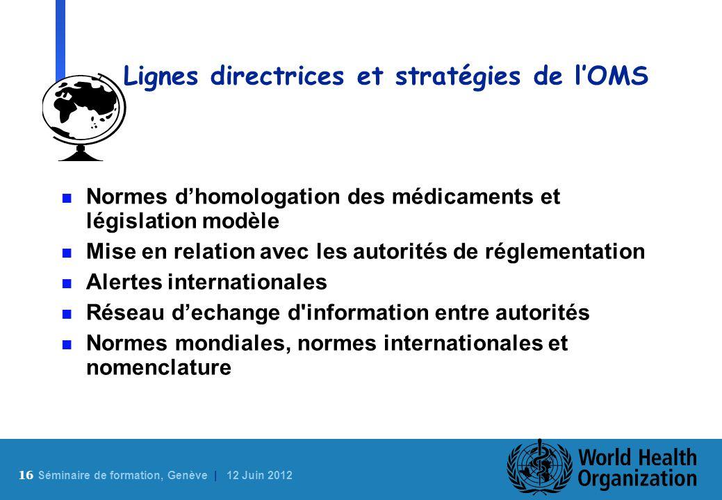 16 S éminaire de formation, Genève | 12 Juin 2012 Lignes directrices et stratégies de lOMS n Normes dhomologation des médicaments et législation modèl