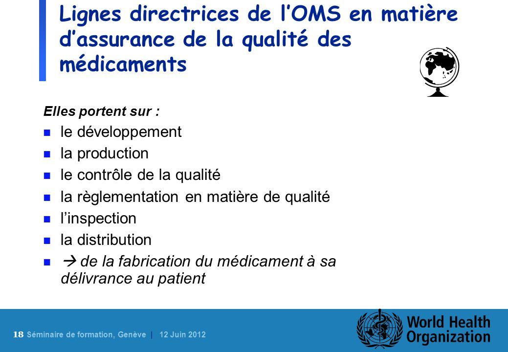 18 S éminaire de formation, Genève | 12 Juin 2012 Lignes directrices de lOMS en matière dassurance de la qualité des médicaments Elles portent sur : n
