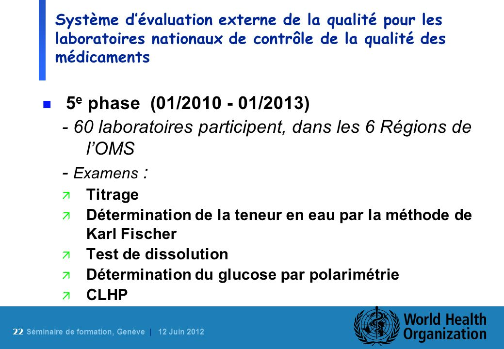 22 S éminaire de formation, Genève | 12 Juin 2012 Système dévaluation externe de la qualité pour les laboratoires nationaux de contrôle de la qualité