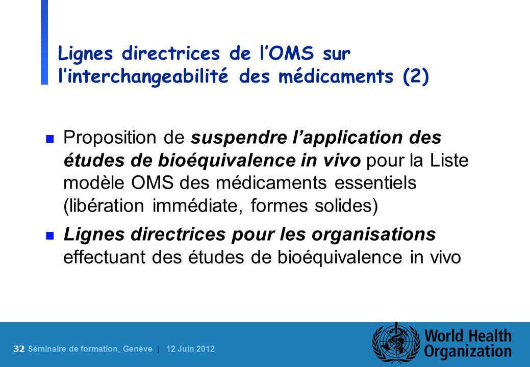 32 S éminaire de formation, Genève | 12 Juin 2012 Lignes directrices de lOMS sur linterchangeabilité des médicaments (2) n Proposition de suspendre la