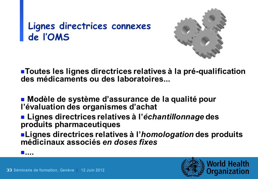 33 S éminaire de formation, Genève | 12 Juin 2012 Lignes directrices connexes de lOMS n Toutes les lignes directrices relatives à la pré-qualification