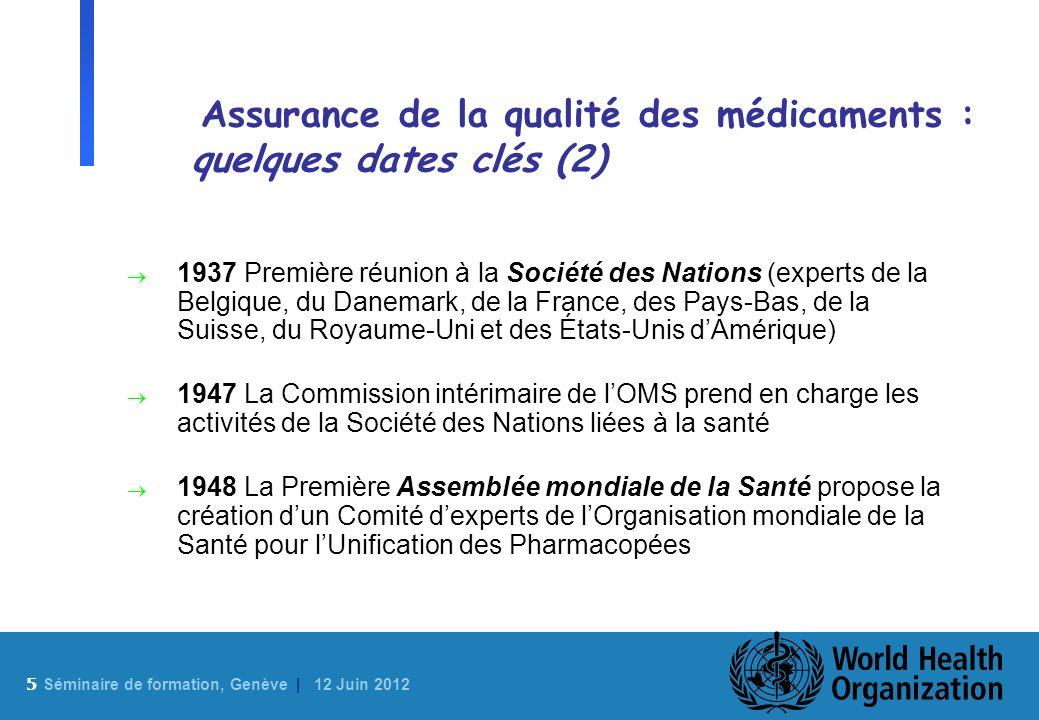 5 Sé minaire de formation, Genève | 12 Juin 2012 Assurance de la qualité des médicaments : quelques dates clés (2) 1937 Première réunion à la Société