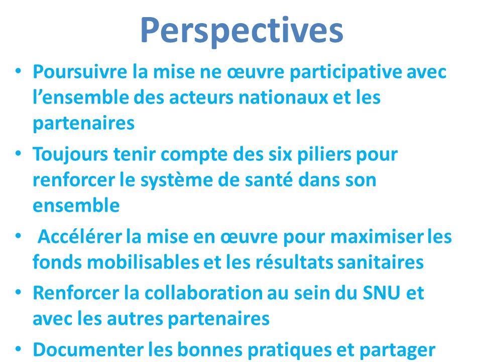 Perspectives Poursuivre la mise ne œuvre participative avec lensemble des acteurs nationaux et les partenaires Toujours tenir compte des six piliers p
