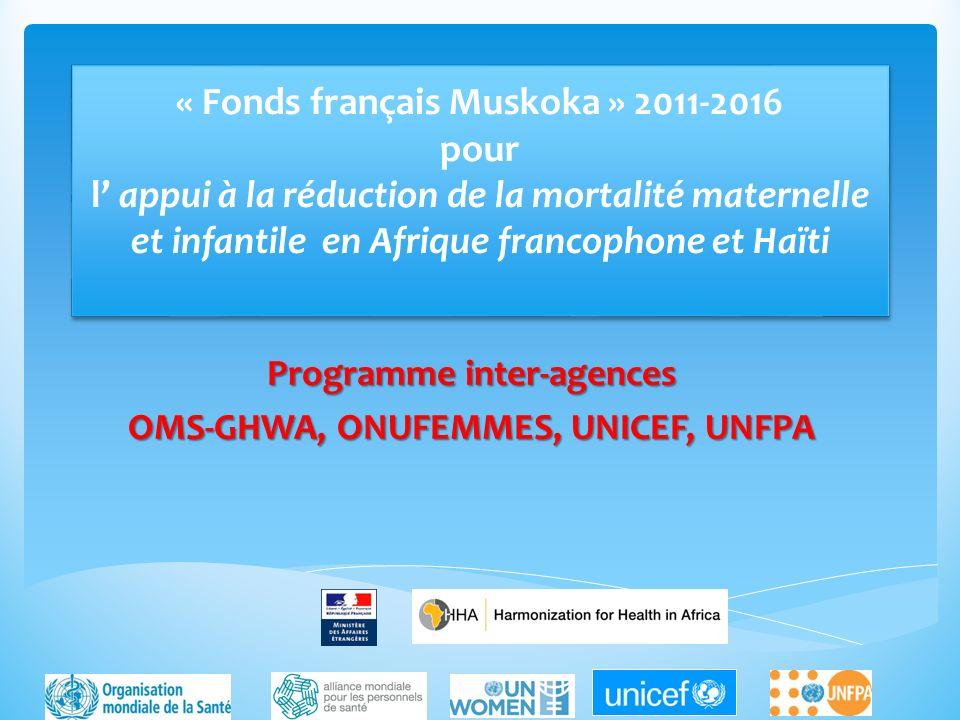 « Fonds français Muskoka » 2011-2016 pour l appui à la réduction de la mortalité maternelle et infantile en Afrique francophone et Haïti Programme int