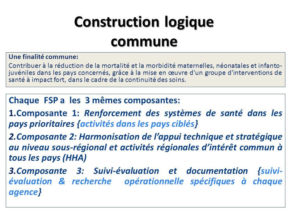 Construction logique commune Une finalité commune: Contribuer à la réduction de la mortalité et la morbidité maternelles, néonatales et infanto- juvén