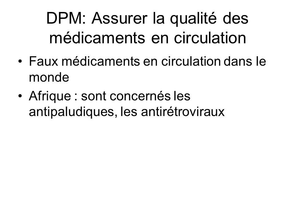 DPM: Assurer la qualité des médicaments en circulation Faux médicaments en circulation dans le monde Afrique : sont concernés les antipaludiques, les antirétroviraux