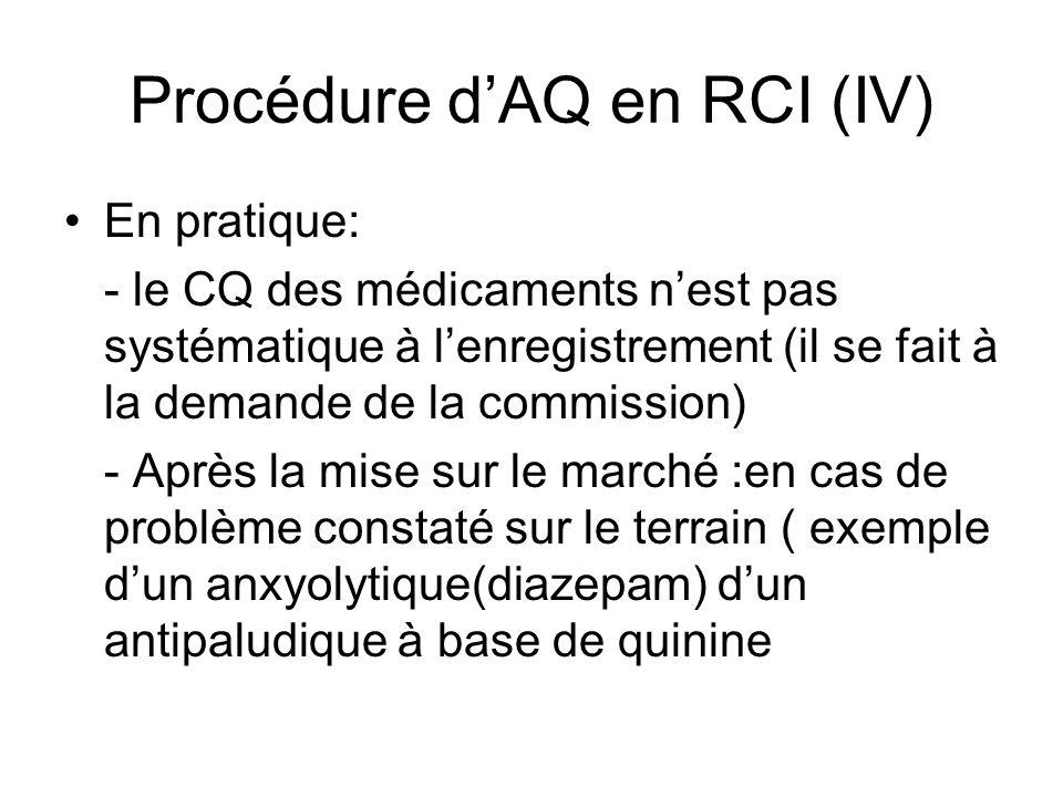 Procédure dAQ en RCI (IV) En pratique: - le CQ des médicaments nest pas systématique à lenregistrement (il se fait à la demande de la commission) - Après la mise sur le marché :en cas de problème constaté sur le terrain ( exemple dun anxyolytique(diazepam) dun antipaludique à base de quinine