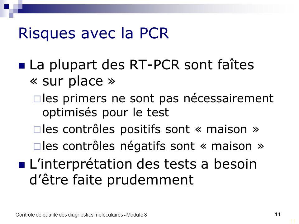 Contrôle de qualité des diagnostics moléculaires - Module 8 11 Risques avec la PCR La plupart des RT-PCR sont faîtes « sur place » les primers ne sont