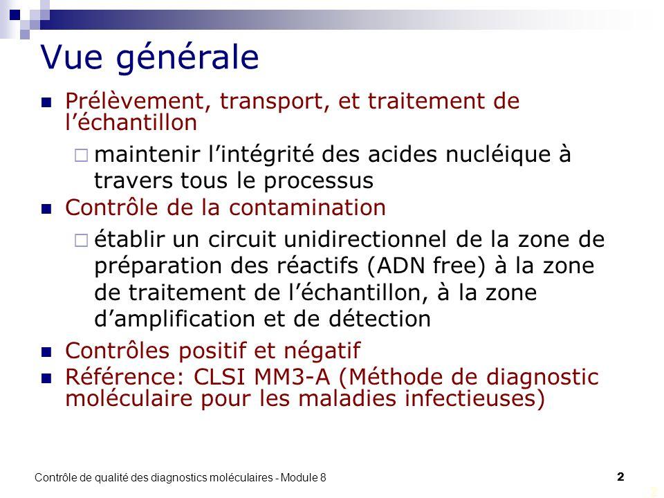 Contrôle de qualité des diagnostics moléculaires - Module 8 2 2 Vue générale Prélèvement, transport, et traitement de léchantillon maintenir lintégrit