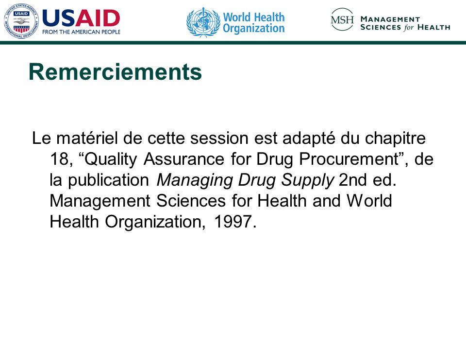 Remerciements Le matériel de cette session est adapté du chapitre 18, Quality Assurance for Drug Procurement, de la publication Managing Drug Supply 2