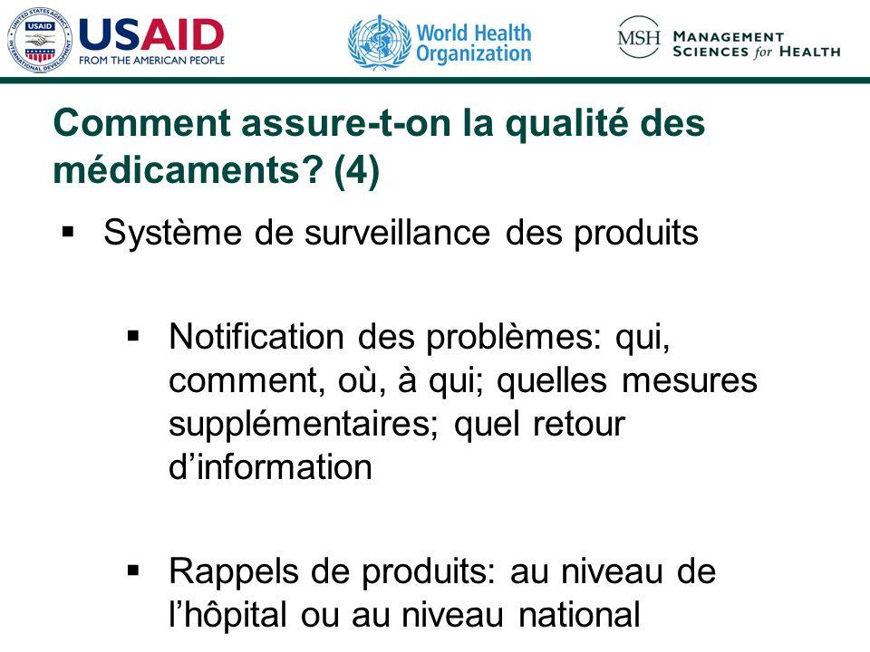 Comment assure-t-on la qualité des médicaments? (4) Système de surveillance des produits Notification des problèmes: qui, comment, où, à qui; quelles
