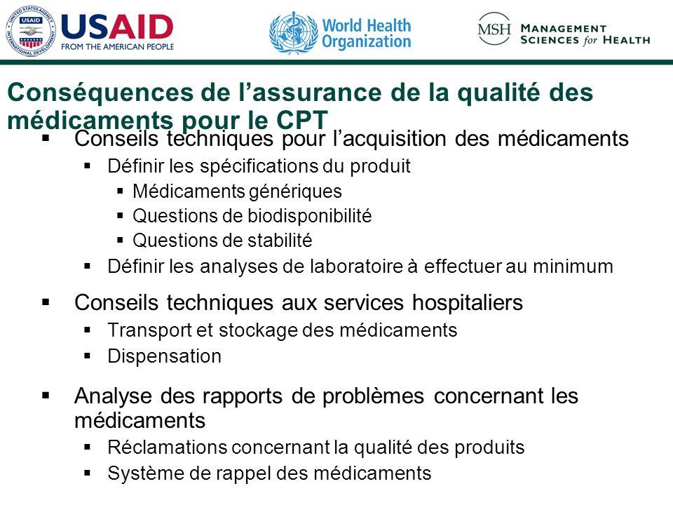Conséquences de lassurance de la qualité des médicaments pour le CPT Conseils techniques pour lacquisition des médicaments Définir les spécifications