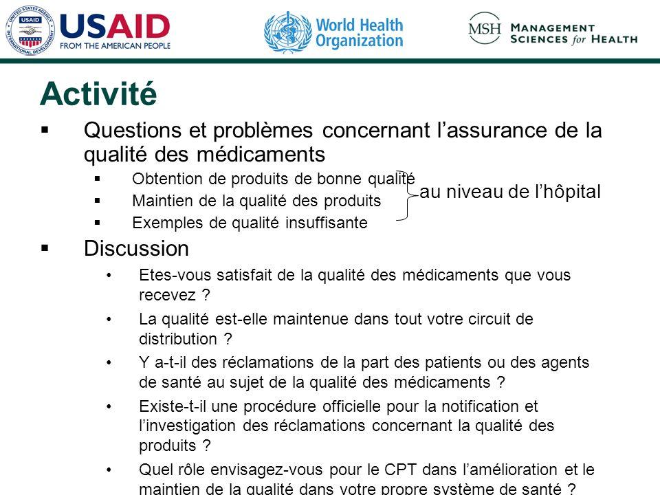 Activité Questions et problèmes concernant lassurance de la qualité des médicaments Obtention de produits de bonne qualité Maintien de la qualité des
