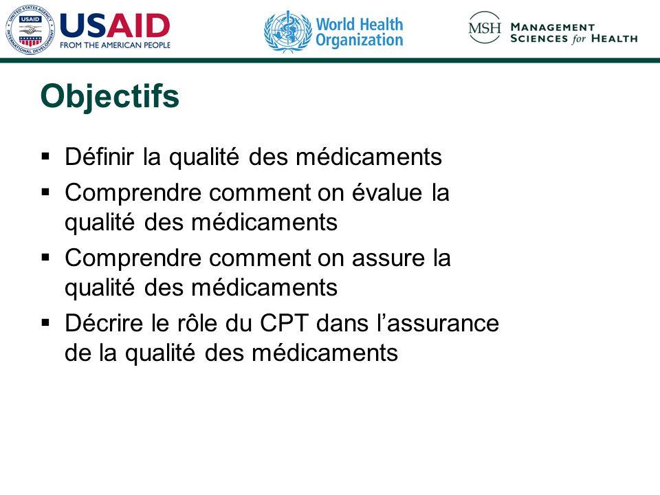 Objectifs Définir la qualité des médicaments Comprendre comment on évalue la qualité des médicaments Comprendre comment on assure la qualité des médic