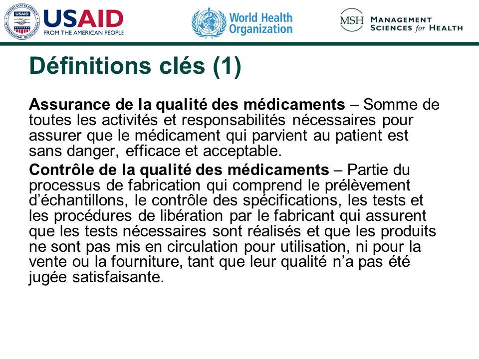 Définitions clés (1) Assurance de la qualité des médicaments – Somme de toutes les activités et responsabilités nécessaires pour assurer que le médica