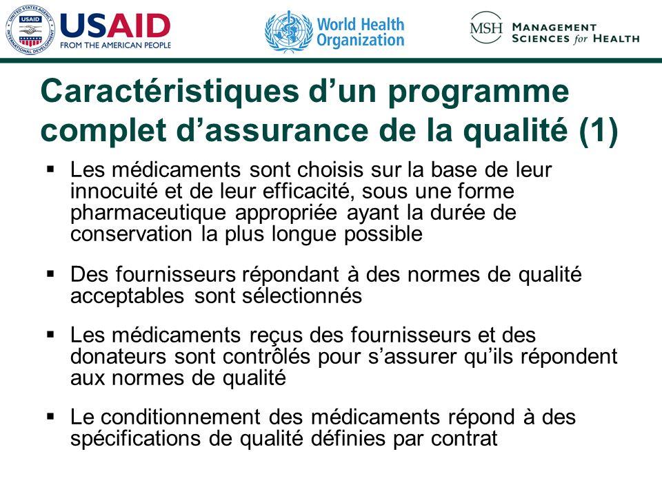 Caractéristiques dun programme complet dassurance de la qualité (1) Les médicaments sont choisis sur la base de leur innocuité et de leur efficacité,