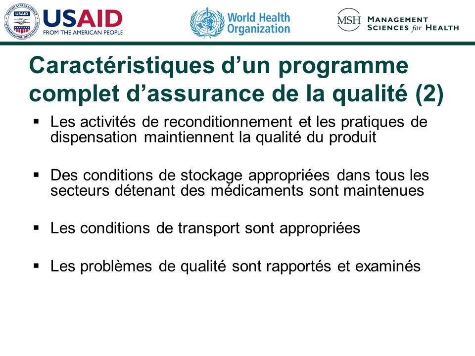 Caractéristiques dun programme complet dassurance de la qualité (2) Les activités de reconditionnement et les pratiques de dispensation maintiennent l