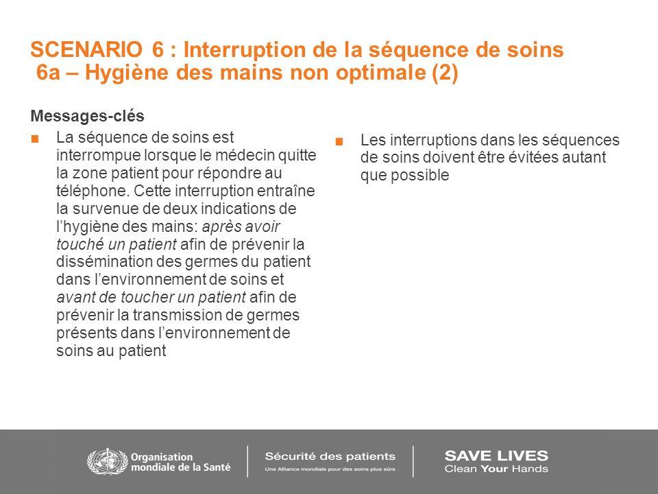 SCENARIO 6 : Interruption de la séquence de soins 6a – Hygiène des mains non optimale (2) Messages-clés La séquence de soins est interrompue lorsque le médecin quitte la zone patient pour répondre au téléphone.