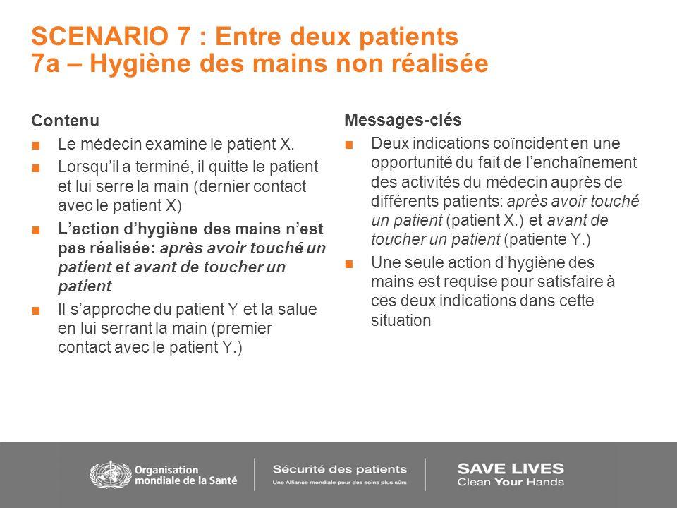SCENARIO 7 : Entre deux patients 7a – Hygiène des mains non réalisée Contenu Le médecin examine le patient X.