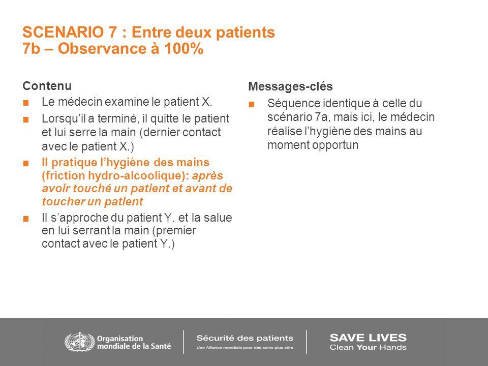 SCENARIO 7 : Entre deux patients 7b – Observance à 100% Contenu Le médecin examine le patient X.