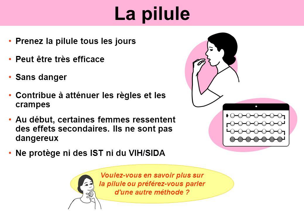 Prenez la pilule tous les jours Peut être très efficace Sans danger Contribue à atténuer les règles et les crampes Au début, certaines femmes ressente