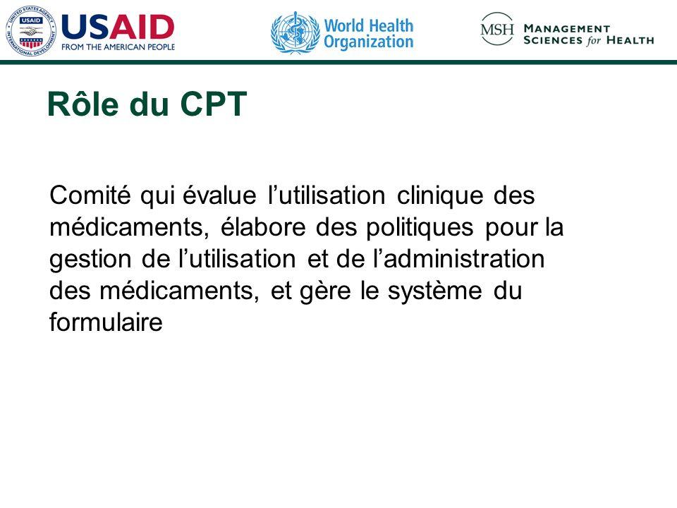 Rôle du CPT Comité qui évalue lutilisation clinique des médicaments, élabore des politiques pour la gestion de lutilisation et de ladministration des médicaments, et gère le système du formulaire