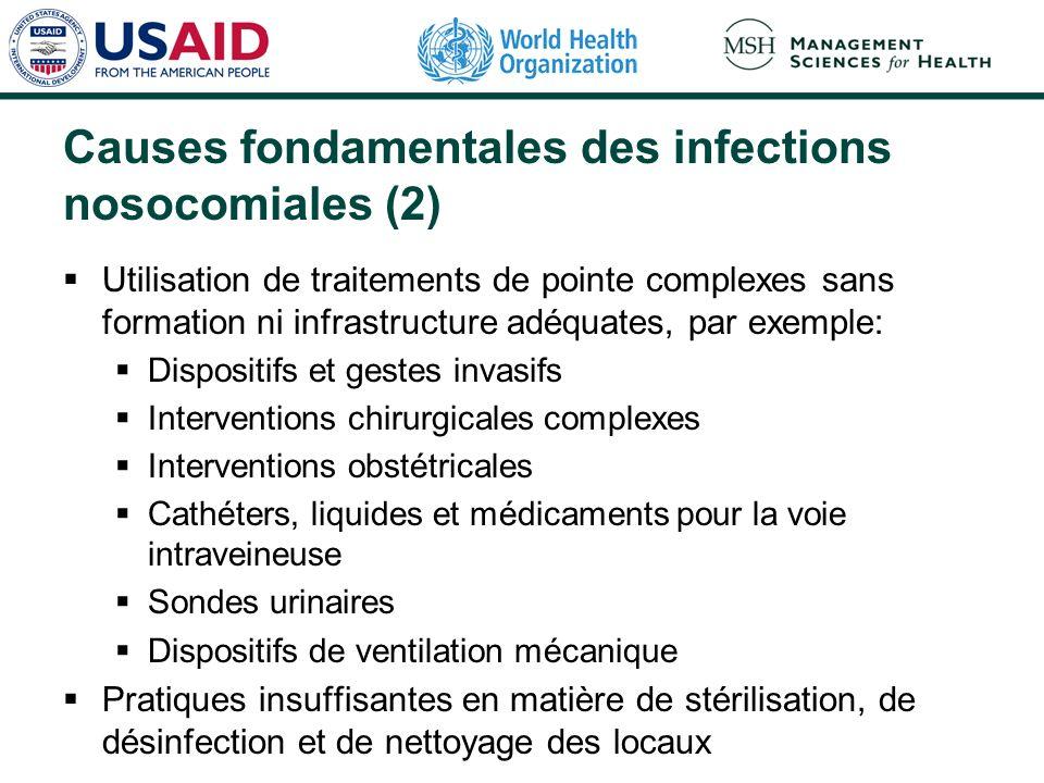 Causes fondamentales des infections nosocomiales (2) Utilisation de traitements de pointe complexes sans formation ni infrastructure adéquates, par ex