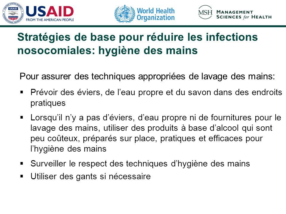 Stratégies de base pour réduire les infections nosocomiales: hygiène des mains Pour assurer des techniques appropriées de lavage des mains: Prévoir de