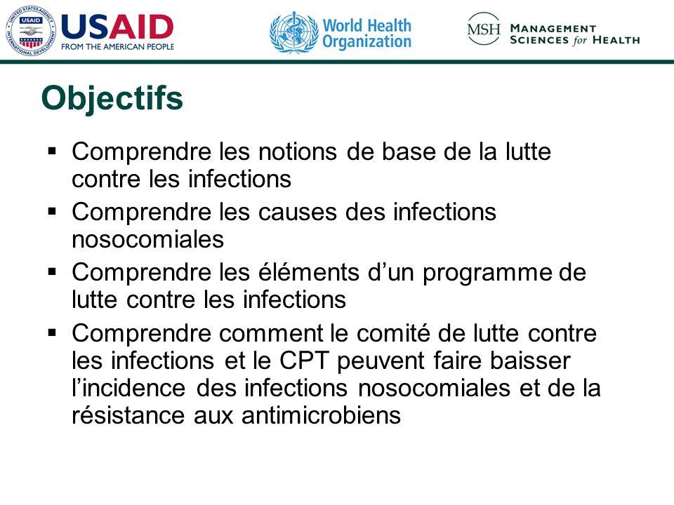 Objectifs Comprendre les notions de base de la lutte contre les infections Comprendre les causes des infections nosocomiales Comprendre les éléments d